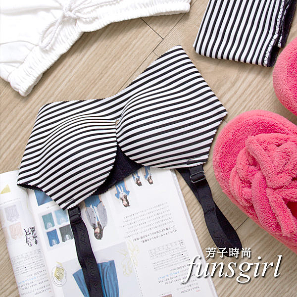 無痕內衣褲 神奇爆乳款條紋集中托高-5色~funsgirl芳子時尚