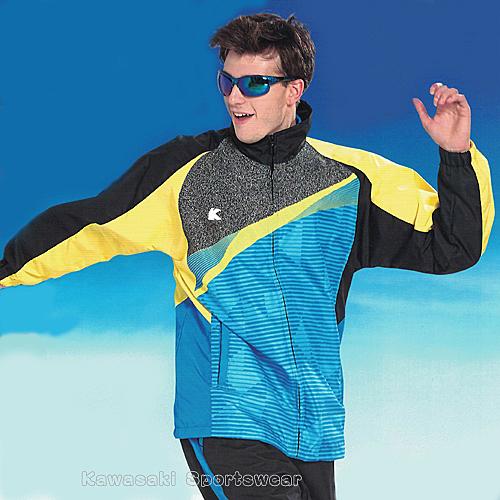 【日本 Kawasaki】男女平織網裡印刷圖騰運動服套裝(全套-海藍)#K218A1-B1
