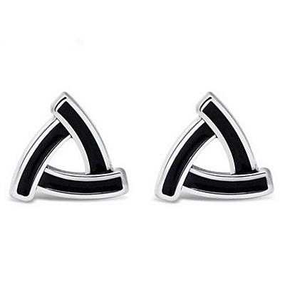 925純銀耳環 (耳針式)-簡約幾何三角形生日情人節禮物女飾品73ag203【巴黎精品】