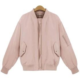 レディースピンクジッパーパイロット野球のジャケットジャケット薄いジャケット野球のジャケット Genry (Color : Pink, Size : L)