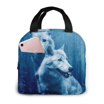 森 オオカミ ランチバッグ 保温 保冷バッグ 弁当バッグ 手提げ ピクニック食品収納 オックスフォード製 レディース 学生用
