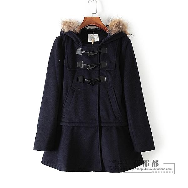 [超豐國際]紫冬裝女裝藏青色象牙口連帽下擺款式時尚大衣 27(1入)