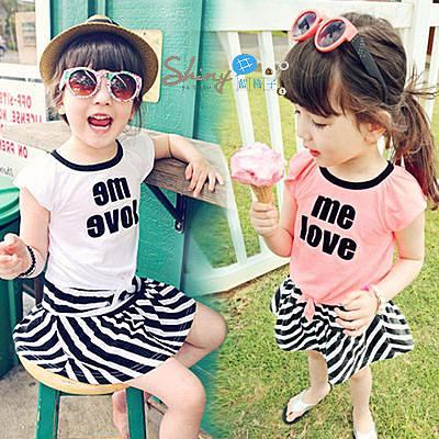 【R2229】shiny藍格子-嬰幼館.夏裝女童字母短袖T+條紋褲裙套裝