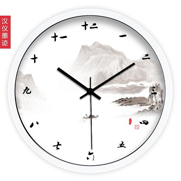 中國風 中式水墨氣質 創意客廳鐘錶時鐘掛鐘靜音石英鐘wy 快速出貨