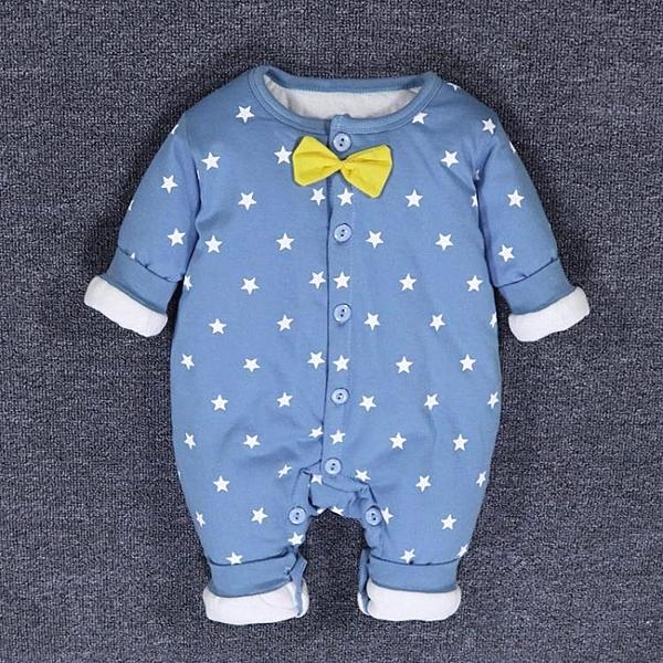 限定款嬰兒長袖兔裝 秋季剛出生嬰兒鋪棉秋裝新生兒連身衣服男寶寶薄棉哈衣保暖鋪薄棉衣冬