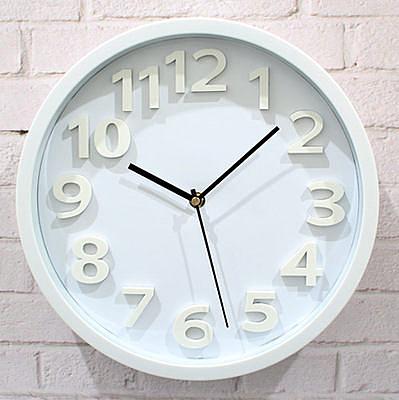 12寸三維3D立體數字掛鐘(純白色)
