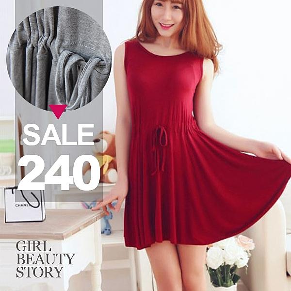 SISI【D8128】現貨甜美修身顯瘦莫代爾無袖中長款洋裝縮腰背心裙連身裙