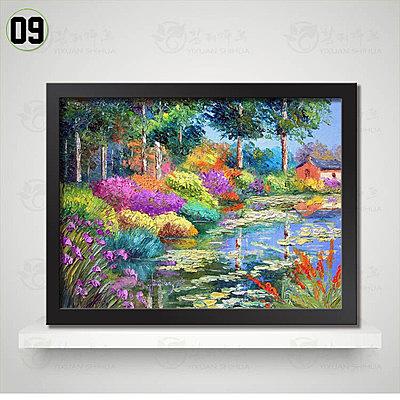 [銀聯網] 歐式田園風景油畫裝飾畫客廳掛畫(黑框) 1入