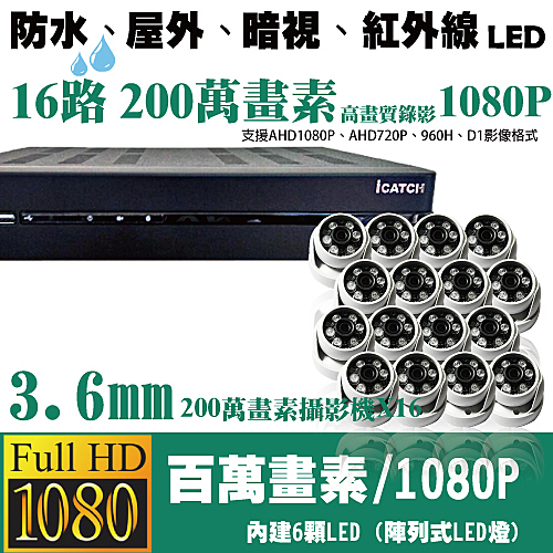 台南監視器/200萬畫素1080P-AHD/到府安裝/16路監視器/SONY200萬半球型攝影機*16