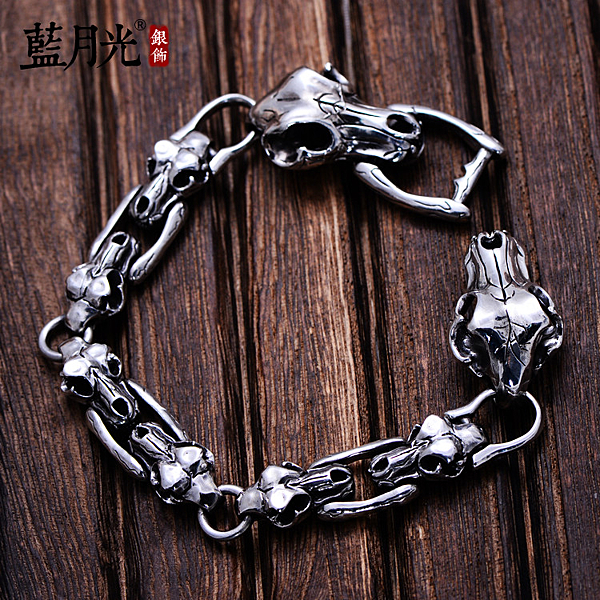 [超豐國際] 925銀飾品復古泰銀骷髏裂紋牛頭霸氣個性時尚銀