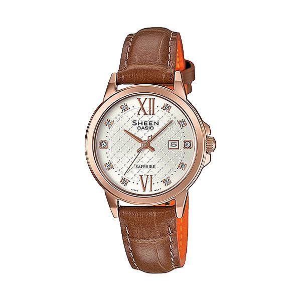 CASIO SHEEN 永花雅印日期晶鑽腕錶-SHE-4525PGL-7AUDR