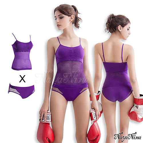 運動內衣褲組  好動!無縫透氣無鋼圈背心內褲組S-XL(紫)  SEXYBABY 性感寶貝NA15990043