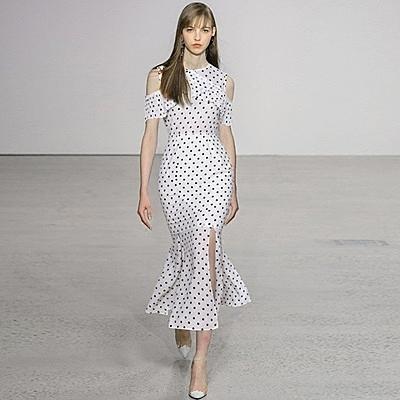洋裝-點點荷葉邊露肩包臀魚尾連身裙2色73ta1【時尚巴黎】