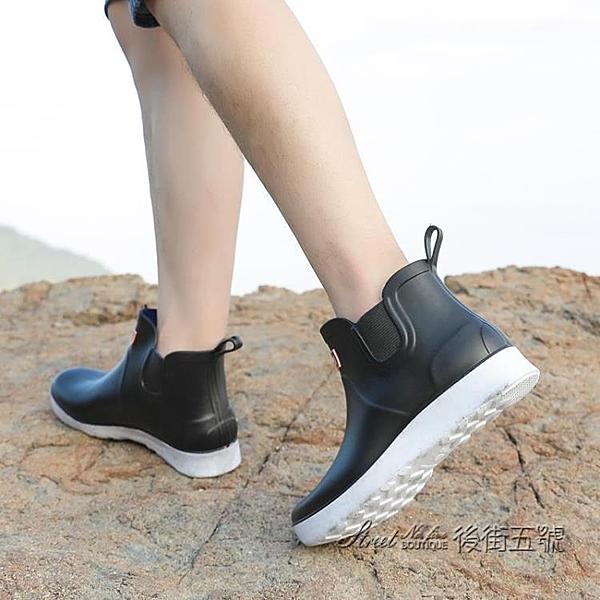 夏季時尚雨鞋男防水防滑低筒水鞋廚房廚師釣魚戶外男款短筒雨靴潮 後街五號