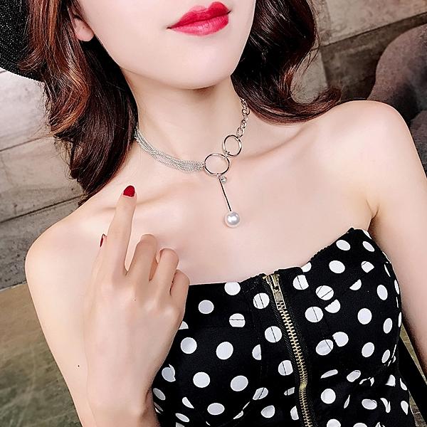 日韓扣環珍珠鎖骨鏈女短款脖子頸鏈choker脖頸飾品個性網紅項鏈