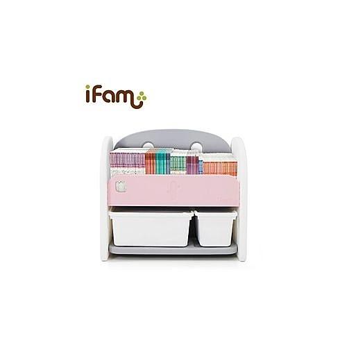 韓國 Ifam 粉紅色書架收納組(白色收納盒x2)IF-064-1P[衛立兒生活館]
