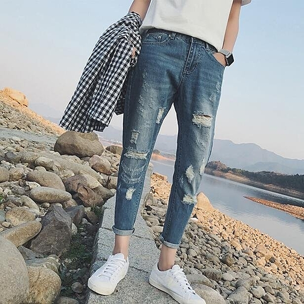 FINDSENSE 時尚 潮 男 破洞 磨白 九分褲 淺色 牛仔褲 休閒褲
