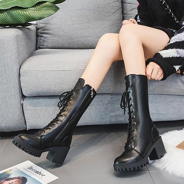 中筒靴 靴子女新款秋冬粗跟高跟中筒靴英倫百搭瘦腳馬丁靴直筒機車靴  夏季新品