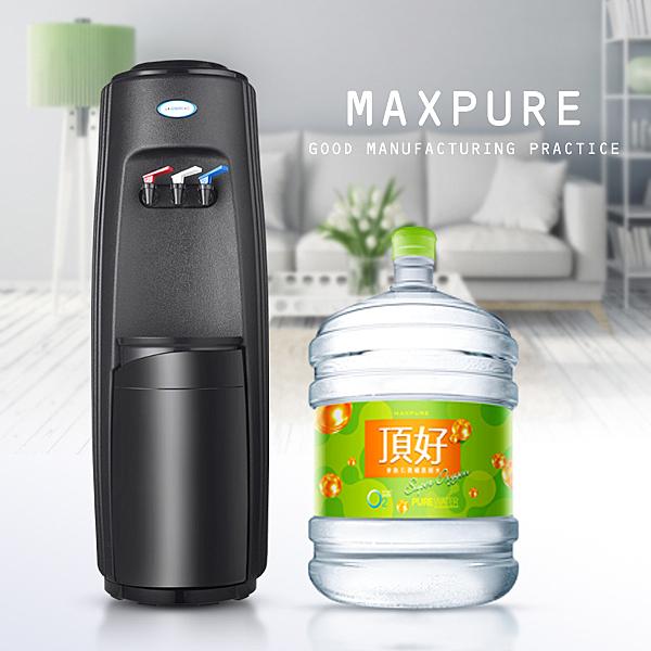 桶裝水 經典時尚黑 落地型冰溫熱飲水機+麥飯石涵氧水