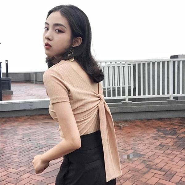 [超豐國際]復古chic風氣質純色蝴蝶結綁帶露背修身顯瘦V領1入