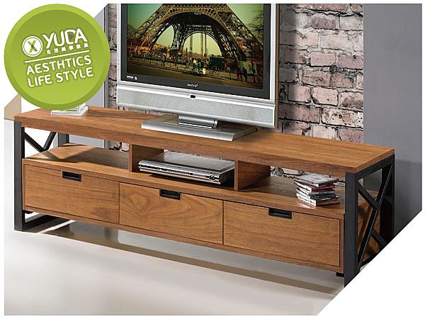 電視櫃【YUDA】克德曼 6尺 雙色 三抽  長櫃 / 電視櫃J8F 215-1