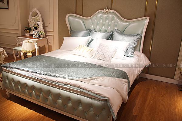 [紅蘋果傢俱] 9601 新古典輕奢系列 6尺 床台 真皮雙人床  床架