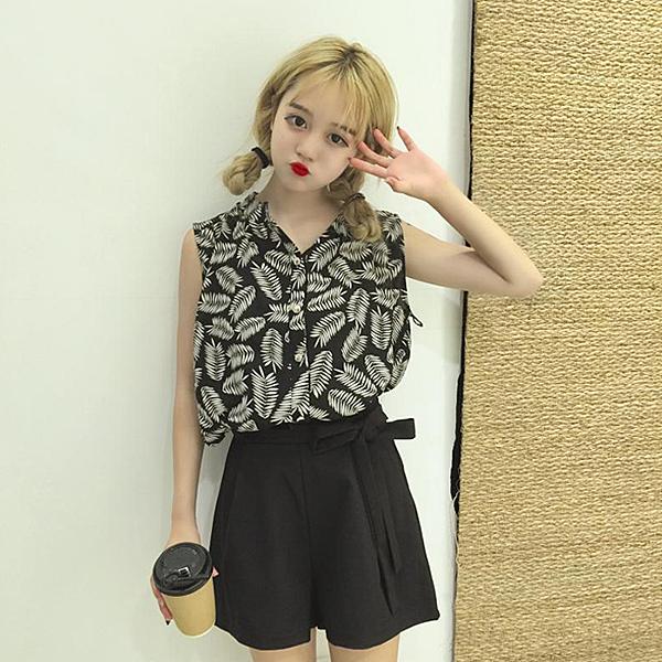 [超豐國際]時尚套裝女夏復古無袖雪紡衫 高腰短褲闊腿褲兩件套1入