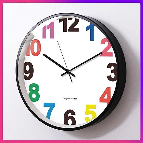 快速出貨 掛鐘 掛鐘客廳靜音時尚創意兒童房大掛表裝飾卡通學生教室鐘表簡約時鐘