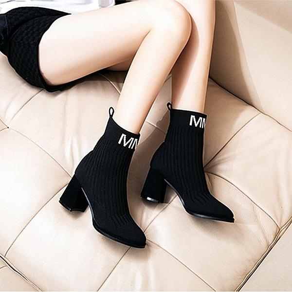 馬丁靴女秋季2020新款襪靴粗跟彈力短靴毛線針織百搭韓版高跟踝靴