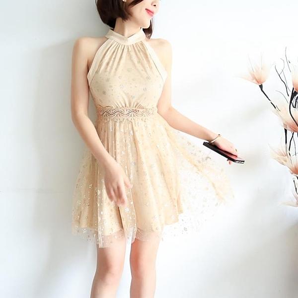 [超豐國際]夏裝女裝輕奢氣質亮片珠花掛脖無袖露肩蕾絲花邊短連1入