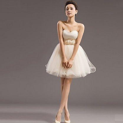 ♥ 俏魔女美人館 ♥ 出租禮服 2014新款女晚裝短款韓版公主抹胸綁帶蓬蓬裙年會演出小禮服