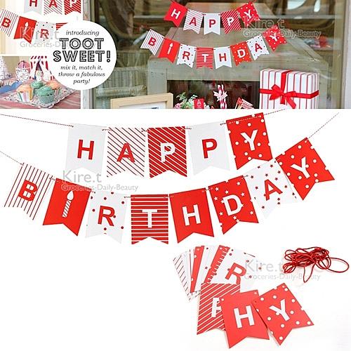 派對佈置 Happy birthday 生日三角旗 拉旗-贈派對專用吹不熄蠟燭10入