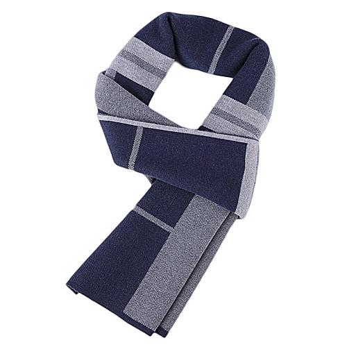 針織圍巾-羊毛商務斜條紋百搭男披肩2色73wi38【時尚巴黎】