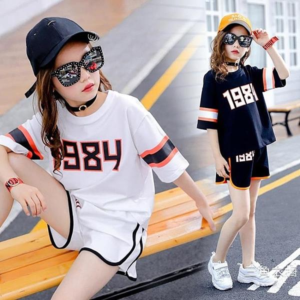 運動服女童運動套裝2020夏季裝新款韓版中大兒童寬松休閑短袖短褲套裝潮