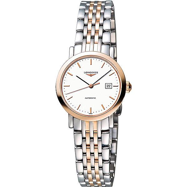 LONGINES 浪琴 Elegant Collection典雅機械女錶-白x雙色版/29mm L43105127