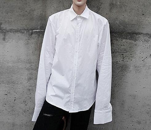 FINDSENSE Z1 韓國 時尚 潮 男 純色素面 長袖子設計 長袖襯衫 特