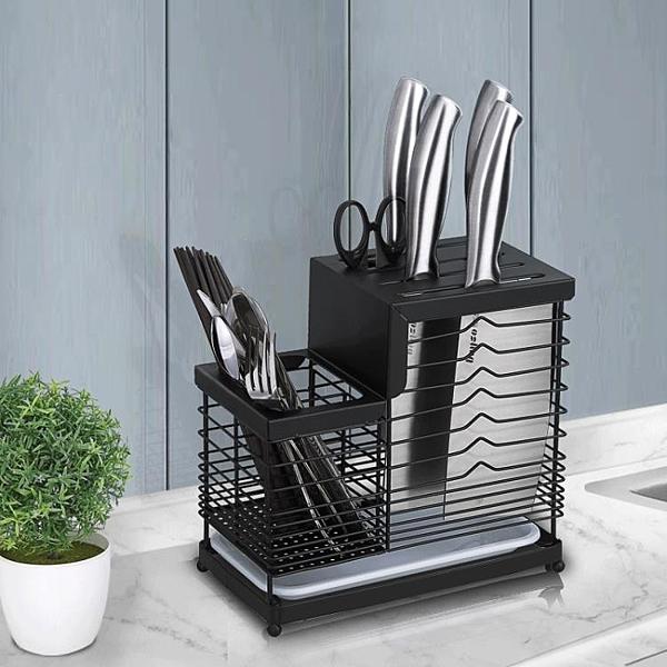 家用黑色304不銹鋼刀架廚房菜刀架置物架菜板砧板收納架刀座YYJ 新年特惠