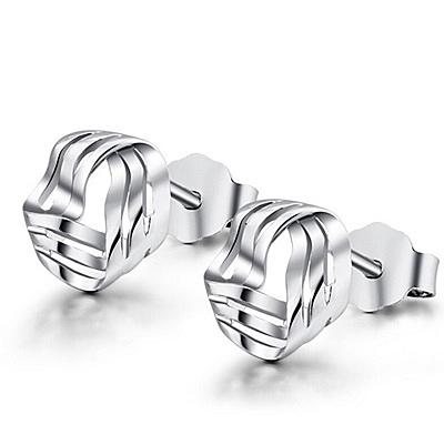 925純銀耳環(耳針式)-時尚獨特旋轉生日情人節禮物女耳飾73ac28【巴黎精品】