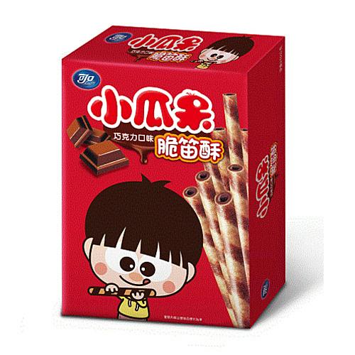 【可口】小瓜呆脆笛酥巧克力口味80g/盒,奶蛋素可食用【合迷雅好物超級商城】
