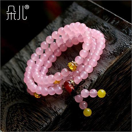 粉水晶佛珠手鏈 108顆4圈 招桃花愛情