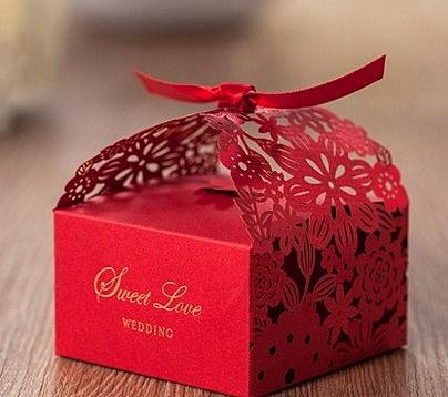 【協貿國際】中式紅色創意婚慶喜糖盒子(10入)