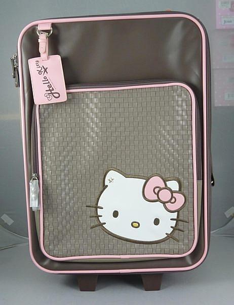 【震撼精品百貨】Hello Kitty 凱蒂貓~22吋-咖啡色-布面 行李箱/旅行箱/登機箱【共1款】