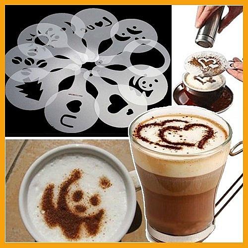 16個 塑料拉花模具 花式咖啡印花模型 咖啡奶泡噴花模板 蛋糕裝飾