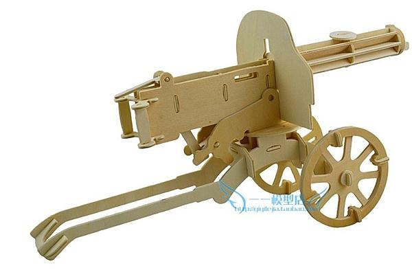 【協貿國際】木質3d立體拼圖衝鋒槍玩具(2入)