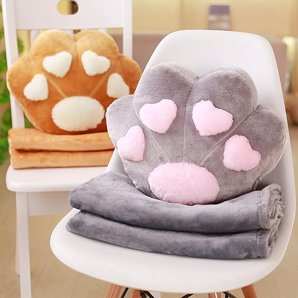 【限時下殺89折】原創可愛貓爪爪抱枕被子兩用辦公室午睡毯子空調被子靠墊被子腰靠