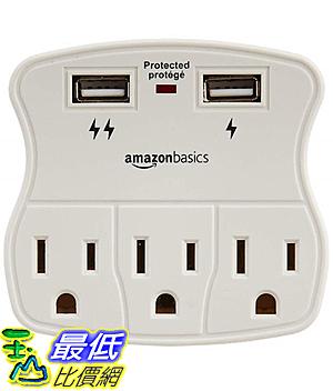 [8玉山最低比價網] 【美國代購】AmazonBasics 3插座電湧保護器,帶2個USB端口