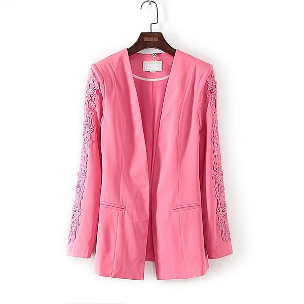 [超豐國際]帛春夏裝女裝枚紅色西裝式內扣外套 40318(1入)