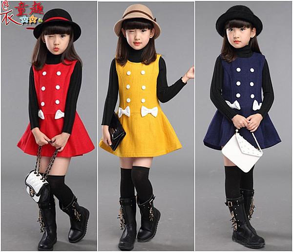 衣童趣♥韓版甜美款 鈕扣蝴蝶結毛呢背心裙 氣質復古款長袖洋裝 表演 正式場合女童小洋裝