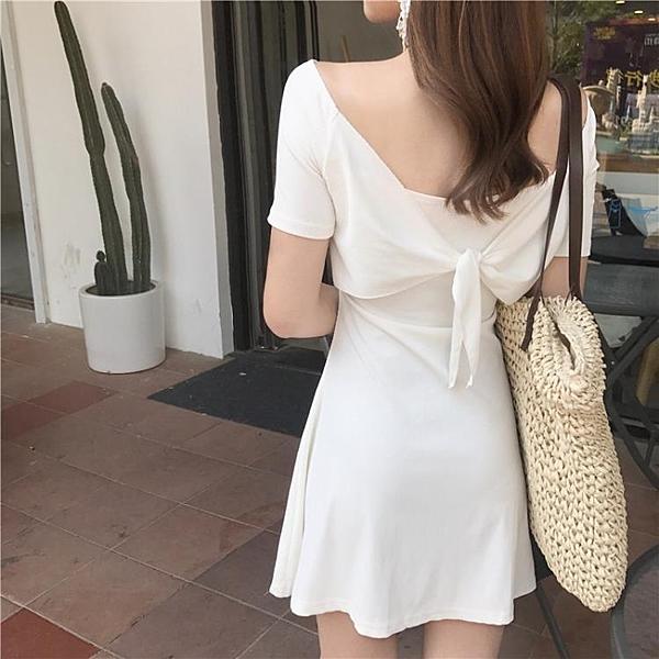 [超豐國際]夏季蝴蝶結鏤空百搭兩面穿純色修身一字領打底連衣裙1入