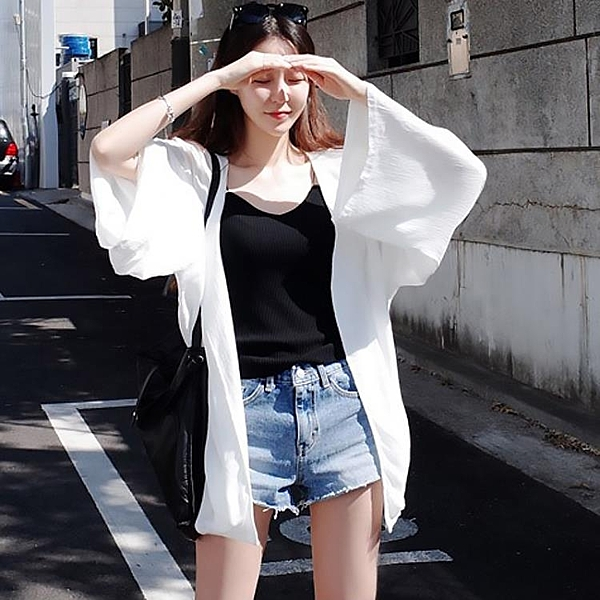 罩衫 防曬衣 超仙防曬衫開衫外套夏薄款雪紡冷氣衫外搭中長版